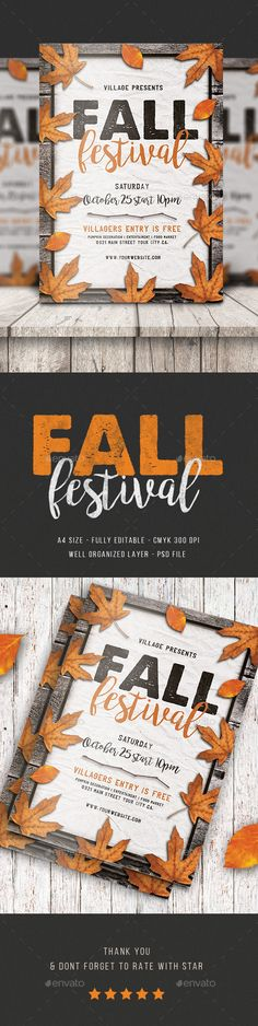 Fall Festival Flyer Design Template - Events Flyers Template PSD. Download here: https://graphicriver.net/item/fall-festival-flyer/17652574?ref=yinkira