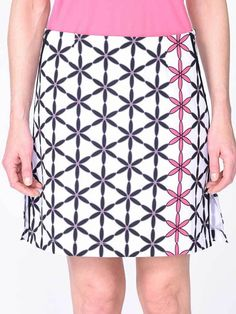 """Need new golf apparel? Golftini Ladies takes pride in offering women's golf clothing for all shapes and sizes. Buy this White/Hot Pink/Black/Grey Outline Golftini Ladies 17.5"""" or 19"""" Twiggy Performance Golf Skorts today from Lori's Golf Shoppe!"""