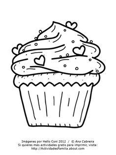 Cumpleaños para colorear #imprimir #colorear #cupcake