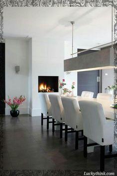 "Foto: Anneke Gambon ‐ ""Stijlvol Wonen"" ‐ © Sanoma Regional Belgium N. Dining Room Walls, Dining Room Design, Fireplace In Dining Room, Dining Room Inspiration, Interior Inspiration, Dinner Room, Home And Living, Modern Living, Living Room"