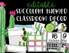 If you love cacti and succulents as much as I do, you'll LOVE this decor pack! Most of the items are editable so that you can personalize them to fit your classroom. Please click on the links below to see what is included in this product. The use of Powerpoint is required for