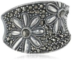 Amazon.com: Sterling Silver Oxidized Marcasite Floral Ring: Jewelry