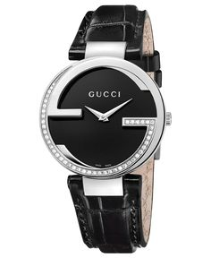 a2d49d454485e Gucci Women s Swiss Interlocking Diamond (3 10 ct. t.w.) Black Alligator  Leather Strap Watch 37mm YA133305   Reviews - Watches - Jewelry   Watches -  Macy s