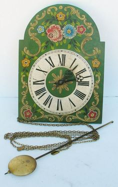 Glorious Vintage Art Deco Vedette Wall Clock French Lovely Painted Patina .