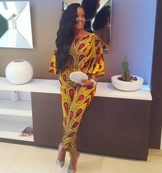 Ankara jumpsuit with flared butterfly sleeves