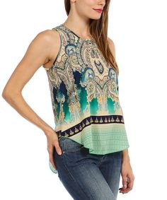 Look at this Mint & Emerald Paisley Sleeveless Top on #zulily today!