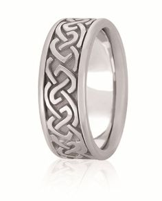 Hand Made Celtic Knot Wedding Band For Men & Women Available In Various Widths And Finishes In Your Choice Of 14K & 18K White, Yellow, Rose & Two Tone Gold, Platinum & Palladium Wedding Band