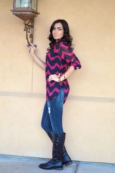 High Expectations Top - Fuchsia/Black Zig Zag from Closet Candy Boutique