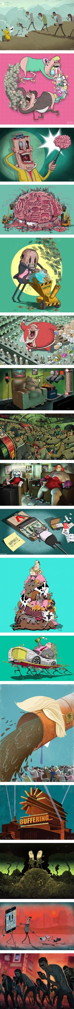These 17 satirical images illustrate the pitfalls of pop consumer culture by Steve Cutts Satire, Sketch Manga, Consumer Culture, Cartoon Kunst, Photo Images, Thought Provoking, Oeuvre D'art, Best Funny Pictures, Les Oeuvres