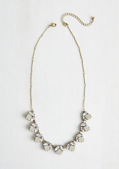 A for Elegance Necklace. Amplify your look with fashionable favor, simply by adding this glimmering rhinestone necklace. #gold #wedding #modcloth