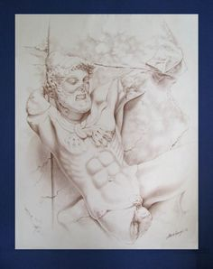 Drawing of a Hercules sculpture from the Delphi Temple complex in Greece. Completed in 1995. <carnegie@mweb.co.za> Hercules, Temple, Greece, Illustrations, Sculpture, Statue, Drawings, Fun, Greece Country