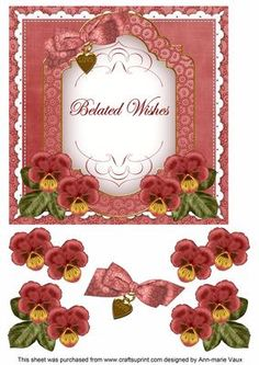 Dark Red Pansy Belated Wishes Fancy 7in Decoupage Topper on Craftsuprint - Add To Basket!