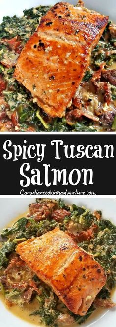 Spicy Tuscan Salmon is delicious and can be on the table in under 30 minutes! #onepot #salmon #tuscan #italian #spicy #seafood #spinach #tomatoes #cream
