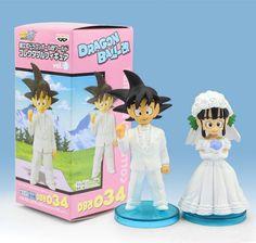 SET OF 2 DRAGONBALL Z GROOM GOKU WEDDING BRIDE CHI CHI BZD FIGURE DRAGON BALL