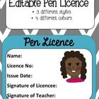 Editable pen licence templates to use in your classroom. I created these after many of my students nagged me to let them use a pen. I simply print. Teaching Tools, Teaching Resources, School Stuff, Back To School, Student Centered Learning, Classroom Tools, Language Activities, Professional Development, Handwriting