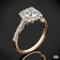 18k White Gold Verragio INS-7047 Cushion Halo Diamond Engagement Ring