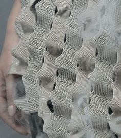Textural Textiles Design using structural knits with contrasting stitches and undulating pattern - textile manipulation; Knitting Designs, Knitting Stitches, Hand Knitting, Stitch Patterns, Knitting Patterns, Textiles Techniques, How To Purl Knit, Knit Fashion, High Fashion