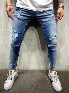 Slim Fit Mens Jeans, Ripped Jeans Men, Slim Fit Pants, Denim Jeans, Harem Pants Men, Cargo Pants, Streetwear Shop, Streetwear Fashion, Evening Dresses With Sleeves