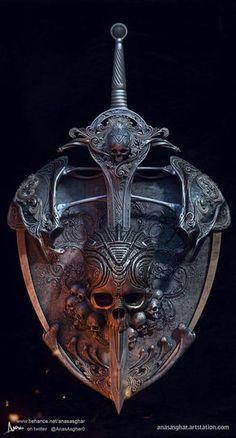 Skull Shield, Anas Asghar : my shield & sword concept design Fantasy Armor, Fantasy Weapons, Dark Fantasy, Skull Tatto, Vikings, Totenkopf Tattoos, Armor Tattoo, Armadura Medieval, Neue Tattoos