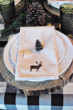 rustic cabin-y table setting...