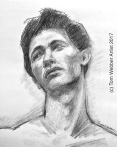 """I drew this charcoal figure drawing last night of a young male. (Yes, I'm aware of the rather androgynous appearance.) I decided that I liked it in its rather sketchy, rough-hewn state, communicating everything I had intended to capture. To my mind, moving forward toward a more nuanced rendition (which I initially intended to do) would have been counterproductive.  """"Young Male"""" Charcoal drawing Approx. 11x15 inches (c) Tom Webber Artist 2017"""