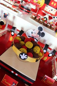 Candy at a Mickey Mouse birthday party! See more party planning ideas at CatchMyParty.com!