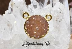 Druzy Connector, Small Druzy Connector, Round Druzy Connector, Druzy, Drusy, 18K Gold Plated Connector, Tiny, 10mm, Peach