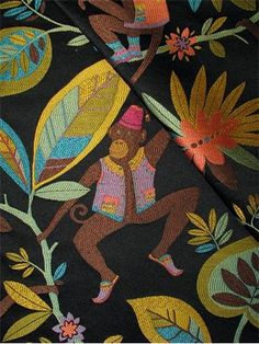 P. Kaufmann Fabric, heavy and durable 60%POLY 40%RAYON jacquard tropical monkey tapestry fabric. Suitable for upholstery fabric, drapery fab...54 28.95