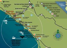 Marino Ballena Park Costa Rica Map 2 Quepos, Little Island, Small Island, Us Beaches, Sandy Beaches, South Pacific, Pacific Coast, National Park Camping, National Parks