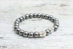 Hematite beaded stretchy silver Buddha bracelet, custom made yoga #bracelet, mens bracelet, womens bracelet