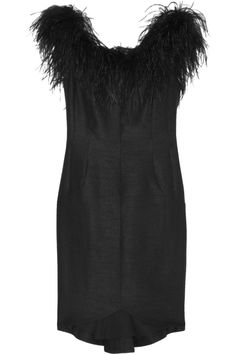Kate Moss for Topshop | Feather-trimmed slub-dupion mini dress | NET-A-PORTER.COM