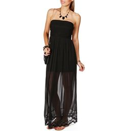 Black Strapless Illusion Maxi Dress. This is really different but could be dressed up with hot pink pumps and hot pink chunky necklace! I like the sexy see through legs ; )