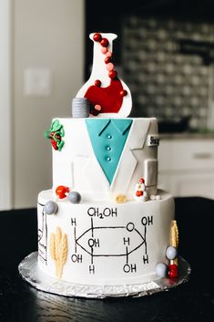 My sister recently graduated with her Food Science and Human Nutrition Master's Degree. I wanted to have a custom food science cake designed for her, but there were limited food science cake ideas… Science Cake, Science Party, Science Activities For Kids, Science Fair Projects, Food Science, Science Experiments Kids, Chemistry Cake, Chemistry Drawing, Chemistry Quotes