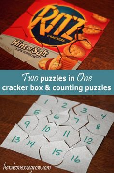 Two Puzzles In One: Cracker Or Cereal Box & Counting Number Puzzles