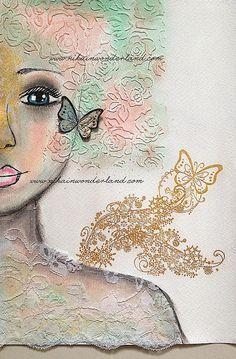 ART JOURNAL PAGE   AN ANGEL 2   Nika In Wonderland Art Journaling and Mixed Media Tutorials
