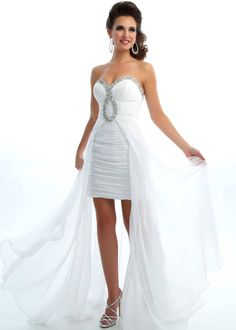 New 2013 Mac Duggal 6089L white strapless high low prom dresses available now at RissyRoos.com.