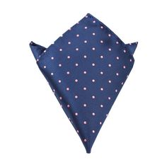 Navy Blue, Pink Polka Dot Pocket Square | Men Suit Hanky | Australia | OTAA