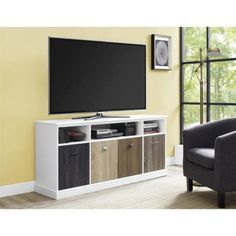 Altra Mercer 60 inch TV Console with Multicolored Door Fronts, Multiple Colors, White