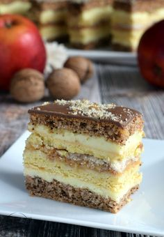Apple-nut s .Anastasia - flavors on the plate Polish Desserts, Polish Recipes, Cookie Desserts, Eclairs, Pineapple Coconut Bread, Sweet Recipes, Cake Recipes, Delicious Desserts, Yummy Food