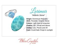 Larimar Crystal Chip Bead Ring throat crystal healing stone third eye wire wrapped leo stackable dainty heart chakra