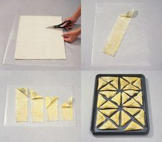 How to fold pastry triangles.