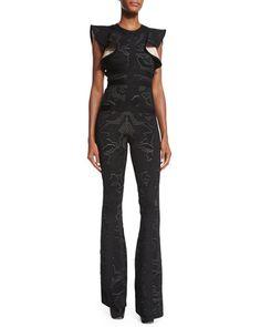 Herve Leger Butterfly Sleeve Jumpsuit | Black/Lace Combo | Neiman Marcus