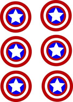 I have looked EVERYWHERE for Captain America stickers. Captain America is my husband's favorite super hero an. Cupcakes Capitan America, Captain America Cupcakes, Captain America Party, Captain America Birthday, Superman Birthday Party, Iron Man Birthday, Avengers Birthday, Pastel Capitan America, Anniversaire Captain America