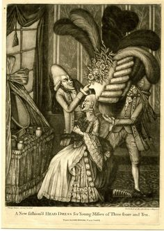 """""""A New Fashion'd Head Dress for Young Misses of Three Score and Ten"""" satirical print by Philip Dawe, published by John Bowles, 1777."""