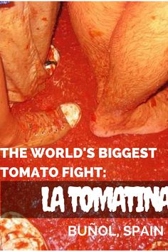La Tomatina, the world's biggest tomato fight in Buñol, Spain! A great way to enjoy this food fight is with a group tour. Here's my review of Topdeck La Tomatina. Topdeck travel in Spain.