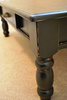 Charmant Bu0027s Refurnishings: Black, Distressed Coffee Table