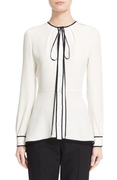 Oscar de la Renta Tie Neck Silk Blouse available at #Nordstrom