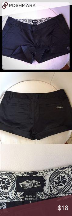 Vans - Black shiny satin/ cotton shorts Vans- Black shiny satin/ cotton shorts Vans Shorts