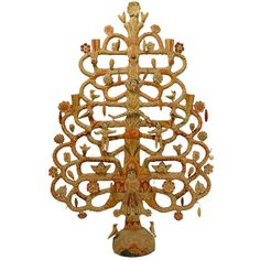 A large and impressive vintage Mexican tree of life candelabra with Adam and Eve in the Garden of Eden, the serpent, birds, angels and flower blossoms throughou Swedish Candle, Mexican Ceramics, Swedish Christmas, Porcelain Clay, Mexican Folk Art, Objet D'art, Blossom Flower, Tree Of Life, Chandeliers
