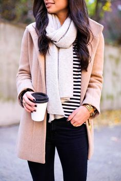 Grey cashmere scarf with stripe sweater
